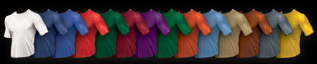 most colors available wet wicking tee shirs