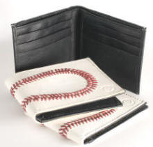 Baseball Leather Wallets with red stiching great gift for a baseball fan
